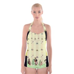 Garden Party Boyleg Halter Swimsuit  from ArtsNow.com