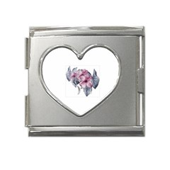 flower5 Mega Link Heart Italian Charm (18mm) from ArtsNow.com Front