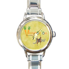 vegan jstar_12_7_2015 Round Italian Charm Watch from ArtsNow.com Front
