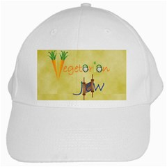 Vegan Jewish Star White Cap from ArtsNow.com Front