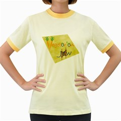 VeggieJew02_12_7_2015 Women s Fitted Ringer T Front