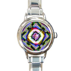 Rippled Geometry  Round Italian Charm Watch from ArtsNow.com Front