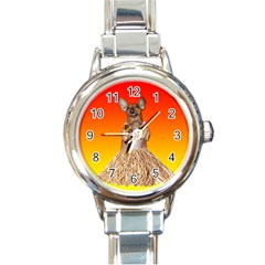 Dancing Dachshund Round Italian Charm Watch from ArtsNow.com Front