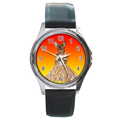 Dancing Dachshund Round Metal Watch from ArtsNow.com Front