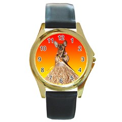 Dancing Dachshund Round Gold Metal Watch from ArtsNow.com Front