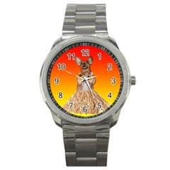 Dancing Dachshund Sport Metal Watch from ArtsNow.com Front