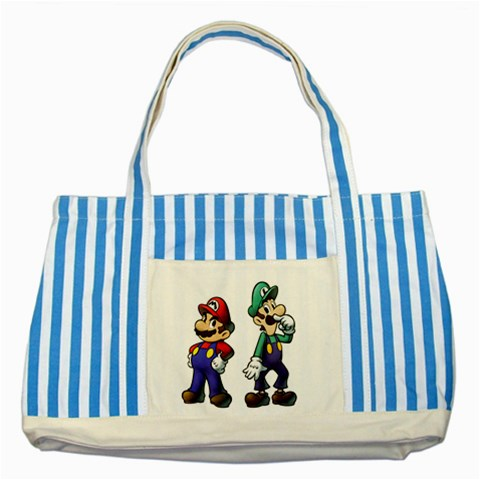 Carson's Collectibles Striped Blue Tote Bag of Super Mario and Luigi Portrait (Super Mario Bros.) at Sears.com