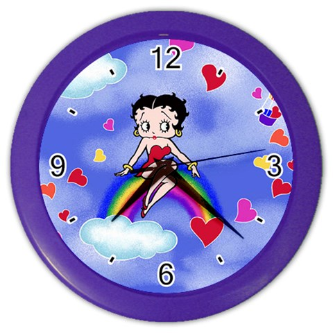 Carson's Collectibles Color Wall Clock of Vintage Art Deco Betty Boop on Rainbow with Hot Air Balloon and Hearts at Sears.com