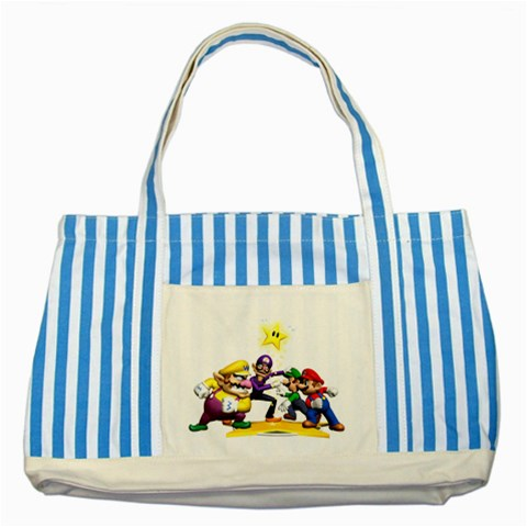 Carson's Collectibles Striped Blue Tote Bag of Super Mario Bros. Mario and Luigi & Wario and Waluigi Showdown at Sears.com