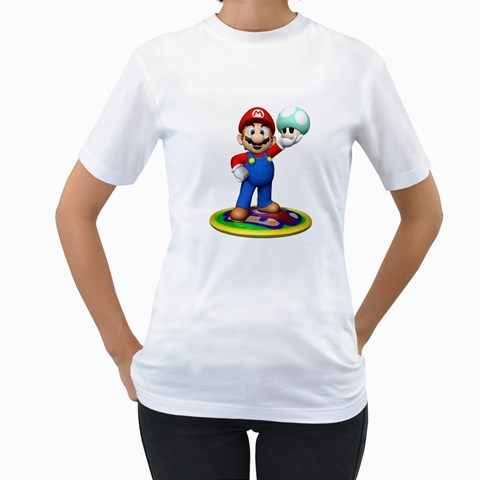 Carson's Collectibles Women's White T-Shirt of Super Mario Bros. Mario with Green 1 Up Mushroom at Sears.com