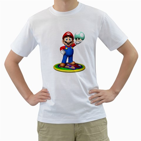 Carson's Collectibles White T-Shirt of Super Mario Bros. Mario with Green 1 Up Mushroom at Sears.com