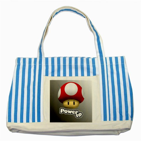 Carson's Collectibles Striped Blue Tote Bag of Super Mario Bros. Mario Red Power Up Mushroom at Sears.com