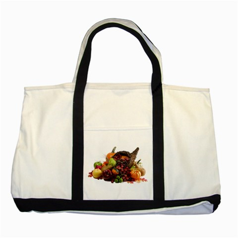 Carson's Collectibles Two Tone Tote Bag of Fall Cornucopia (Thanksgiving)(White Background) at Sears.com
