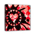 Love Heart Splatter Mini Canvas 6  x 6  (Stretched)