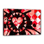 Love Heart Splatter Canvas 18  x 12  (Stretched)