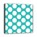 Turquoise Polkadot Pattern Mini Canvas 8  x 8  (Framed)