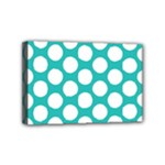 Turquoise Polkadot Pattern Mini Canvas 6  x 4  (Framed)