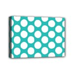 Turquoise Polkadot Pattern Mini Canvas 7  x 5  (Framed)