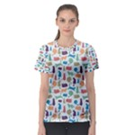 Blue Colorful Cats Silhouettes Pattern Women s Sport Mesh Tees
