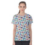 Blue Colorful Cats Silhouettes Pattern Women s Cotton Tees