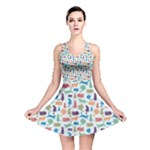 Blue Colorful Cats Silhouettes Pattern Reversible Skater Dresses
