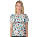 Blue Colorful Cats Silhouettes Pattern Women s V-Neck Sport Mesh Tee