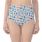 Blue Colorful Cats Silhouettes Pattern High-Waist Bikini Bottoms