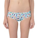 Blue Colorful Cats Silhouettes Pattern Classic Bikini Bottoms