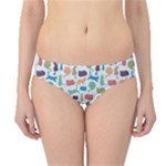 Blue Colorful Cats Silhouettes Pattern Hipster Bikini Bottoms