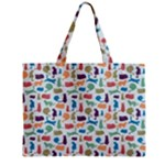 Blue Colorful Cats Silhouettes Pattern Zipper Tiny Tote Bags