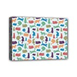 Blue Colorful Cats Silhouettes Pattern Mini Canvas 7  x 5