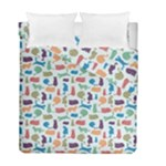 Blue Colorful Cats Silhouettes Pattern Duvet Cover (Twin Size)