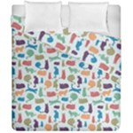 Blue Colorful Cats Silhouettes Pattern Duvet Cover (Double Size)