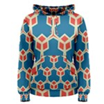 Orange shapes on a blue background Women s Pullover Hoodie
