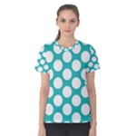 Turquoise Polkadot Pattern Women s Cotton Tee