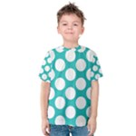 Turquoise Polkadot Pattern Kid s Cotton Tee