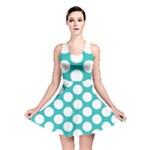 Turquoise Polkadot Pattern Reversible Skater Dress