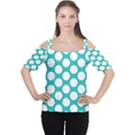 Turquoise Polkadot Pattern Women s Cutout Shoulder Tee