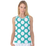 Turquoise Polkadot Pattern Women s Basketball Tank Top