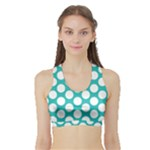Turquoise Polkadot Pattern Women s Sports Bra with Border