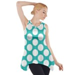 Turquoise Polkadot Pattern Side Drop Tank Tunic