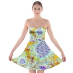 Golden Violet Sea Shells, Abstract Ocean Strapless Dresses