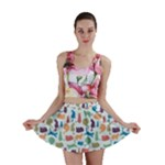 Blue Colorful Cats Silhouettes Pattern Mini Skirt