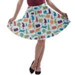 Blue Colorful Cats Silhouettes Pattern A-line Skater Skirt