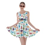 Blue Colorful Cats Silhouettes Pattern Skater Dress