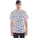 Blue Colorful Cats Silhouettes Pattern Men s Sport Mesh Tee