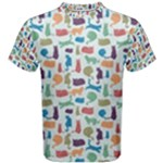 Blue Colorful Cats Silhouettes Pattern Men s Cotton Tee