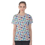 Blue Colorful Cats Silhouettes Pattern Women s Cotton Tee