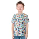 Blue Colorful Cats Silhouettes Pattern Kids  Cotton Tee