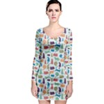 Blue Colorful Cats Silhouettes Pattern Long Sleeve Bodycon Dress